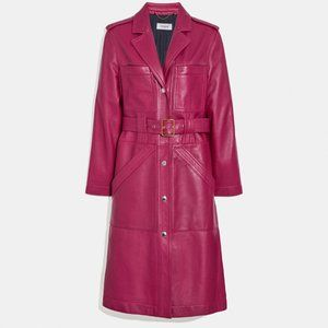 COACH LEATHER LAMB SKIN LONG BELTED TRENCH COAT
